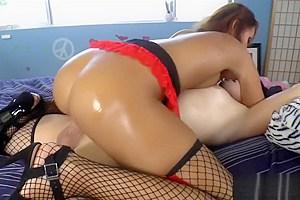 TS Gina Hart and hot girl fooling around