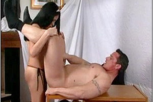 Nasty T-Girl Stiffs Her Hard Dick In Her Bosses Mouth