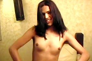 slim Mexican tranny Tainara Bovers Dancing And Masturbating