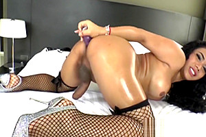 Busty Ladyboy Jasmine H Toyfucks Herself