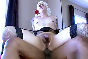 Tattooed blonde tranny ass fucked by BBC