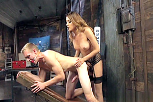 Footfetish ladyboy doggystyles her slave