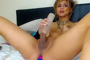 sexy Columbian tranny Stroking fake penis