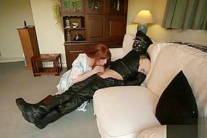 Redhead Crossdresser Maid Sucks dick Slow And Sensual For Her Masters cum