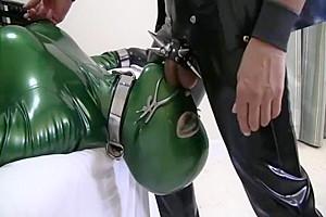 Rubber this babemale Sex slave sucks shlong