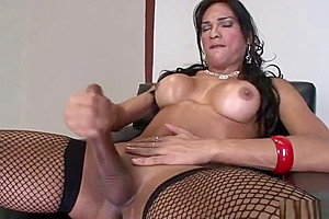 Solo latina TS Jerks Off Her cock
