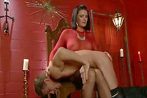 pretty shemale female-dominator Commands twink In Red Room