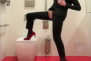 Mean bitch high heels, long legs cum in office toilet like small girl