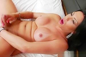 Smoking hot transgender Alana plays her prick in sensual way