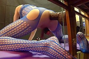TS-girl destroys ass, big and deep