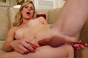Dildoing solo shemale tugs her fat cock