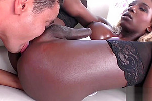 Ebony Shemale Enjoys Anal With a White Cock