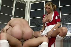 shemales 3some Cheerleaders Are admirable To dril boy