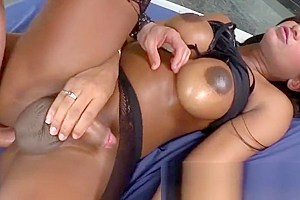Tranny Jennifer Rios suck and bangs her muscular bf in his ass