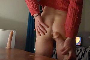 Slutty sissy girl public exhibitionist dildo deepthroat, assfuck, PART ONE