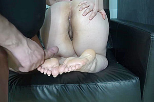 Lick hairy and cum clean of foot 4k