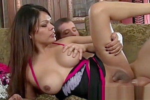 Sexy asian shemale rides a cock