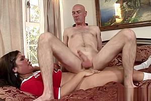 Hot tranny Carmen Moore fucks a bald guy