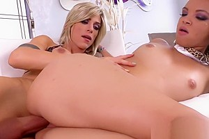 Brunette teen Ashley Luvbug fucked by a hot shemale Nina Lawless