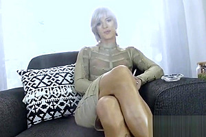 beautiful smoking sissy displayed and cums for Daddy