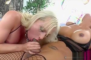 Tranny couples Eva Cassini and Jessy Dubai in hardcore anal sex
