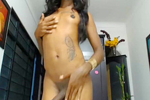 Black colombian shemale with natural titties and huge cock