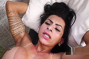 Guy fucks pierced shemale whore