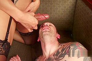 Asian tranny in lingerie fucks slave