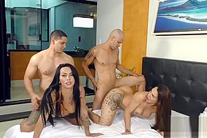 Phat Booty Tgirls Melyna Merli and Nicolly Pantoja Twerk on Two Raw Cocks