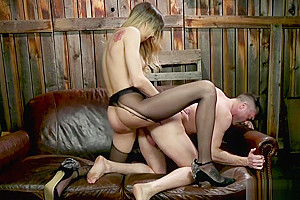 Shemale in tights anal fucks landlord