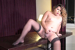 Solo chubby transgender beauty tugs her dong