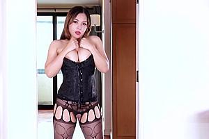 Asian ladyboy rimjob with cumshot