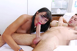 Shemale nurse gets turned on by big cock