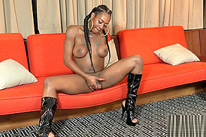 Bigtitted Nubian Trans Stroking Her Black Rod