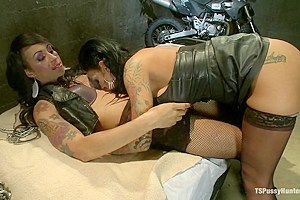 Biker Dungeon Transsexual Hottie Honey Fucks Angelina Valentine